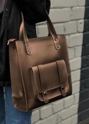 Вместительная сумка из эко-кожи с карманом