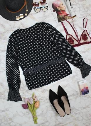 Обнова! блуза топ на запах с рюшами в горох качество h&m8