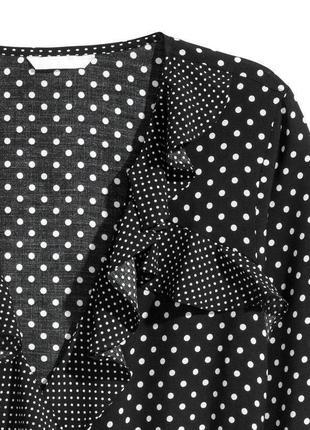 Обнова! блуза топ на запах с рюшами в горох качество h&m3