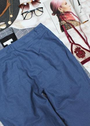 Обнова! брюки штаны широкие кюлоты синяя сталь лён льняные новые качество6