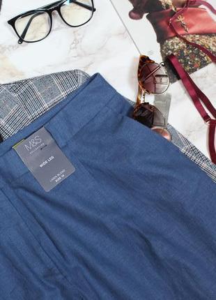 Обнова! брюки штаны широкие кюлоты синяя сталь лён льняные новые качество4