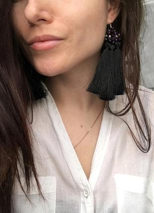 Сережки кисти, серьги кисточки, серёжки из камней, сережки китиці3