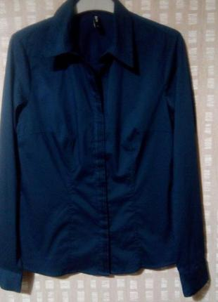 Классическая женская рубашка темно-синего цвета tcm tchibo