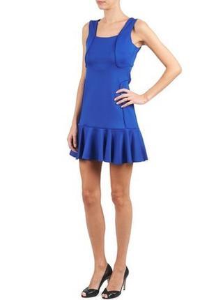 Обнова! платье с воланом плотное luxury качество синее кобальт7
