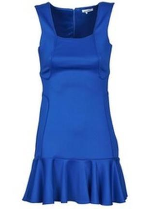 Обнова! платье с воланом плотное luxury качество синее кобальт8