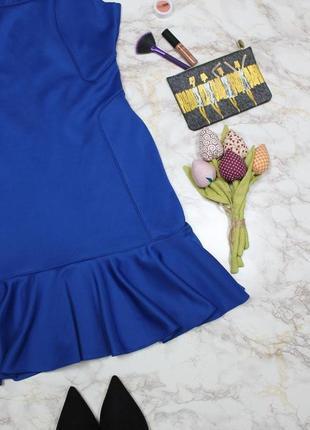 Обнова! платье с воланом плотное luxury качество синее кобальт3