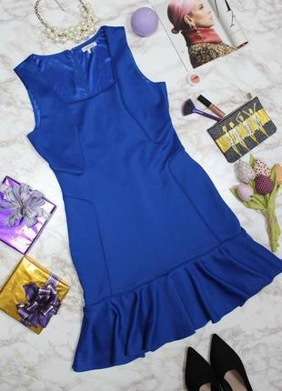 Обнова! платье с воланом плотное luxury качество синее кобальт1