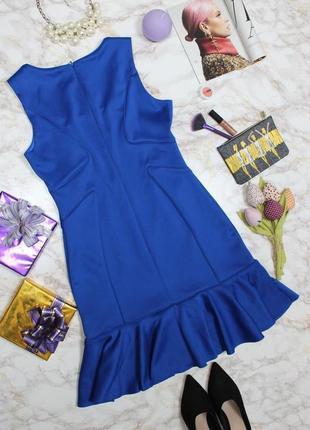 Обнова! платье с воланом плотное luxury качество синее кобальт6