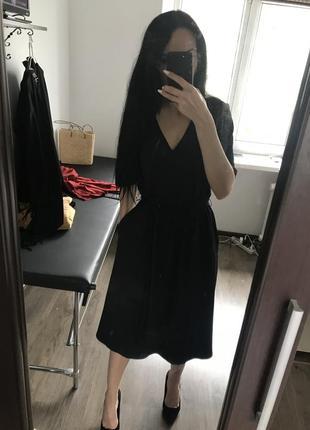 Чорне плаття міді з кишенями5