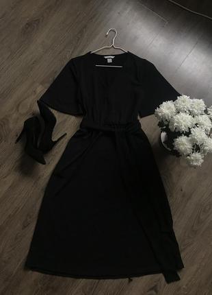 Чорне плаття міді з кишенями2