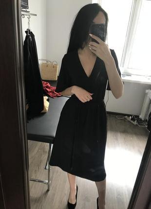 Чорне плаття міді з кишенями6