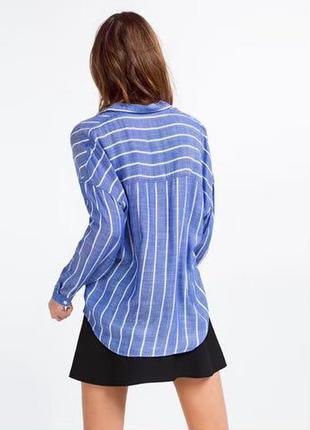 Голубая блузка в полоску zara1