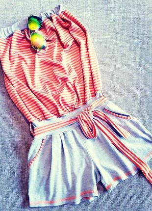 Топовый полосатый летний ромпер/комбез/комбинезон шортами с оголённой спинкой zara.