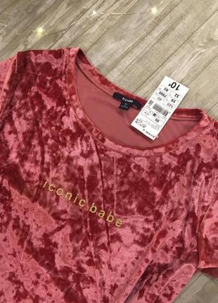 Бархатная футболка kiabi размер xs / s франция3