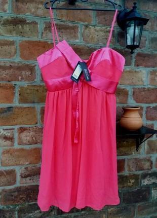 Розовое нарядное коктейльное платье из воздушной ткани1