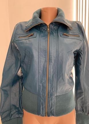 Кожанка бомбер куртка очень глубокого сине-зелёного цвета из экокожи сша с м