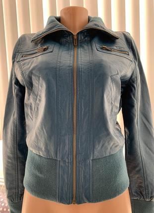 Кожанка бомбер куртка очень глубокого сине-зелёного цвета из экокожи сша с м2