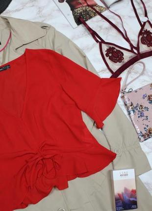 Обнова! блуза топ кропнутый с рюшами с затяжкой красный6