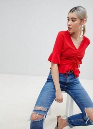 Обнова! блуза топ кропнутый с рюшами с затяжкой красный1