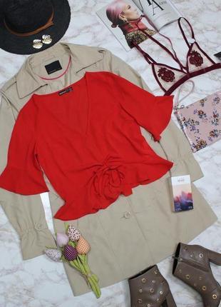 Обнова! блуза топ кропнутый с рюшами с затяжкой красный5