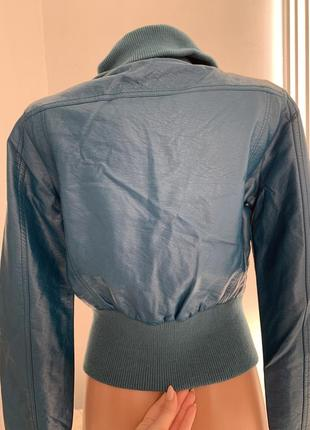 Кожанка бомбер куртка очень глубокого сине-зелёного цвета из экокожи сша с м4