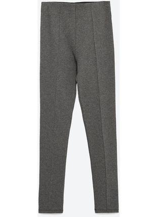 Очень стильные штаны легинсы zara в елочку с высокой посадкой р. s2