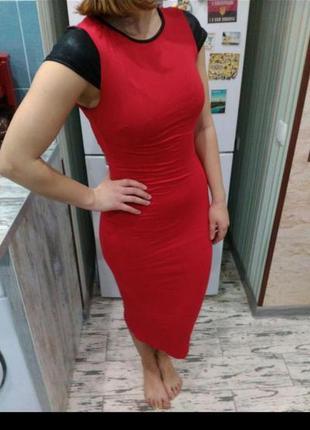 Красное платье-миди4