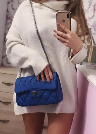 Синяя сумка шанель3