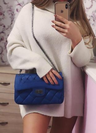 Синяя сумка шанель1