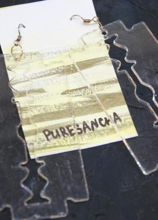 Огромные сережки из акрила лезвия4