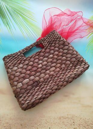 Модная французская соломенная сумка avenue, платок в подарок5