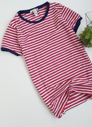 Базовая футболка в полоску синяя красная2