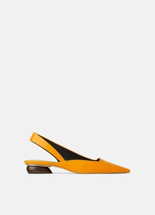 Кожаные туфли босоножки zara с ремешком1