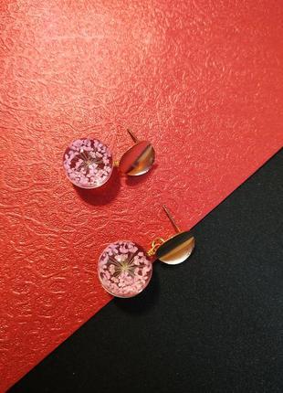 Оригинальные серьги прозрачный шар и сушеный цветок / горячая цена!9
