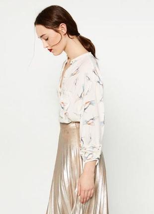 Стильная рубашка от zara с принтом птичек колибри