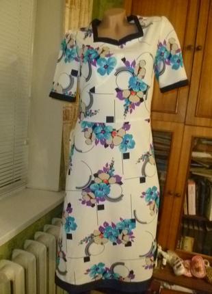 Красивое летнее трикотажное платье,винтаж,с цветочным принтом,короткий рукав2