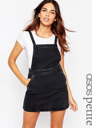 Черное джинсовое платье‑трапеция сарафан комбинезон  с выбеленным эффектом asos1