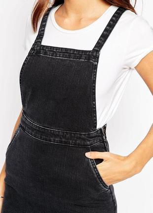 Черное джинсовое платье‑трапеция сарафан комбинезон  с выбеленным эффектом asos5