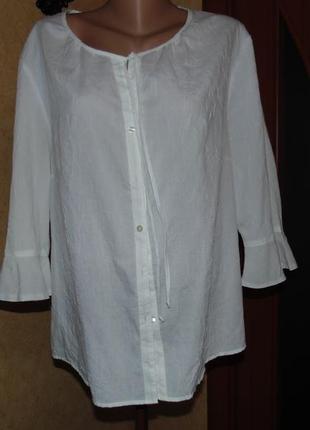 Нежная белоснежная  блузка  44-46 евро ботал!!!!1