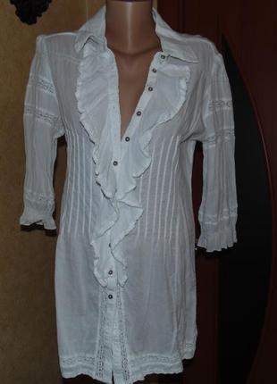 Белоснежная натуральная блуза1