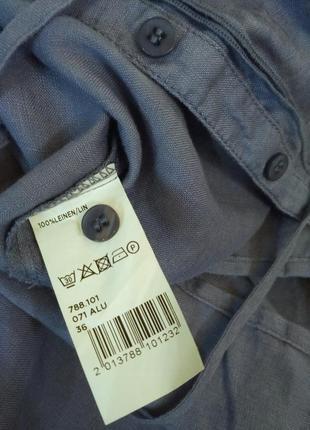 Maddison /васильковая льняная блуза- рубашка2