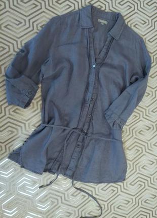 Maddison /васильковая льняная блуза- рубашка4