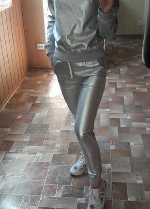 Мега крутой кожаный костюм, серебро, размер с-м, новый4