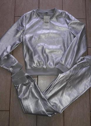 Мега крутой кожаный костюм, серебро, размер с-м, новый5