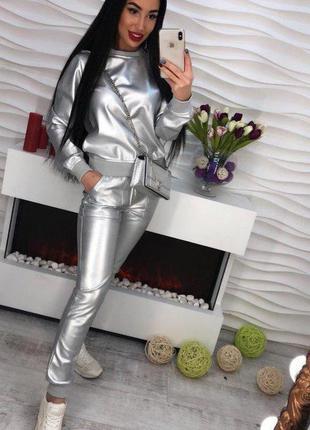 Мега крутой кожаный костюм, серебро, размер с-м, новый3