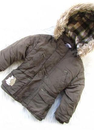 Стильная теплая куртка парка с капюшоном baby club c&a