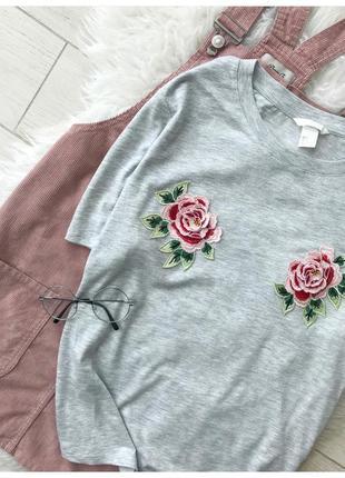 Серая футболка с вышивкой 🌸 h&m2
