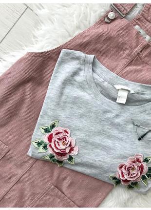 Серая футболка с вышивкой 🌸 h&m4
