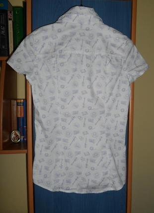 Блузка женская, девочке р. xs/s легкая рубашка с коротким рукавом2