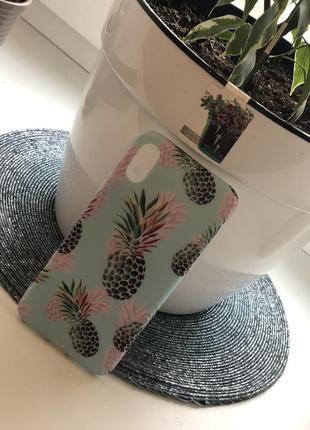 Классный силиконовый чехол бампер с ананасами яркий летний на айфон 10  х2